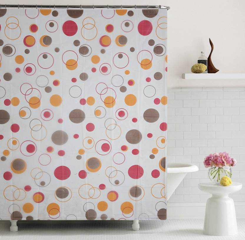 Home Candy 180 Cm 6 Ft PVC Shower Curtain Single Geometric Multicolor