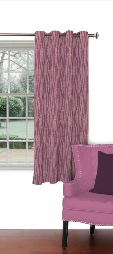 Skipper 153 cm  5 ft  Blends Window Curtain Single Curtain Abstract, Purple