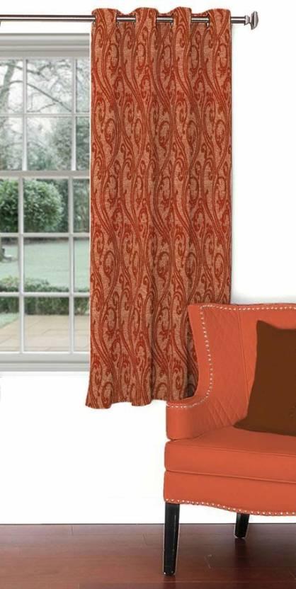 Skipper 153 cm  5 ft  Blends Window Curtain Single Curtain Motif, Rust