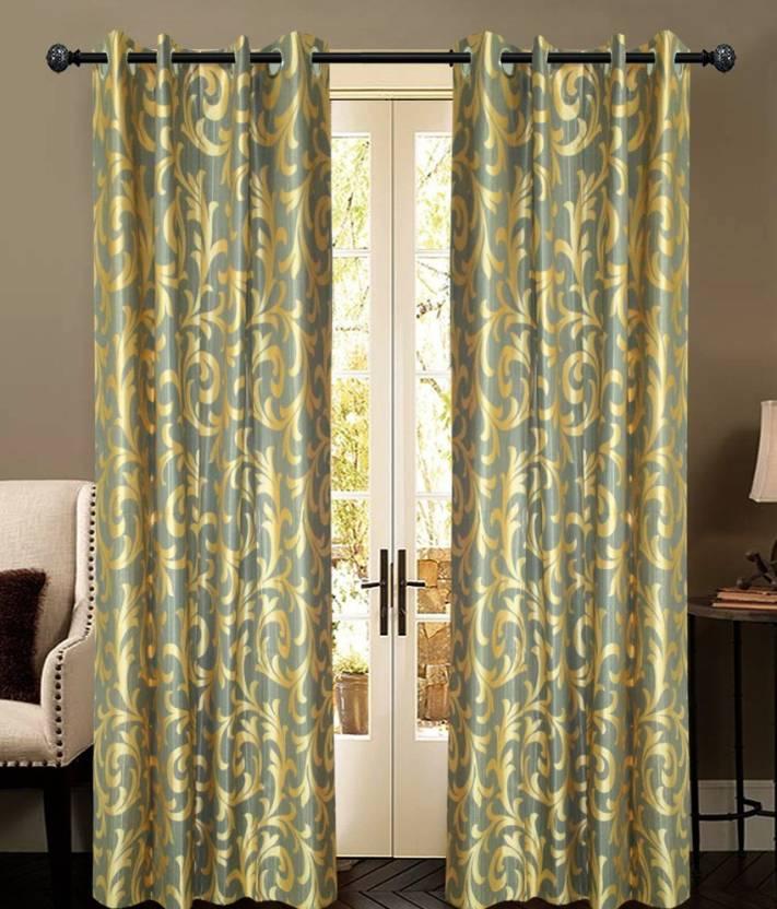 New Ladies Zone 210 cm  7 ft  Polyester Door Curtain  Pack Of 2  Floral, Grey New Ladies Zone Curtains