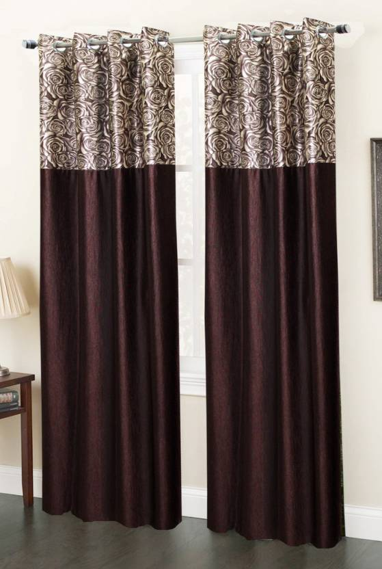 Home Fab India Polyester Brown Floral Eyelet Window Curtain