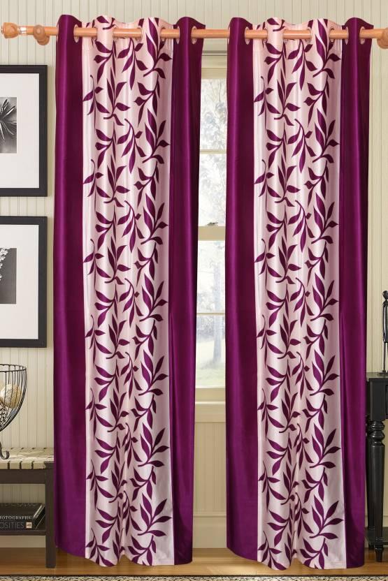 Vrinda Polyester Purple Printed Tab Top Long Door Curtain