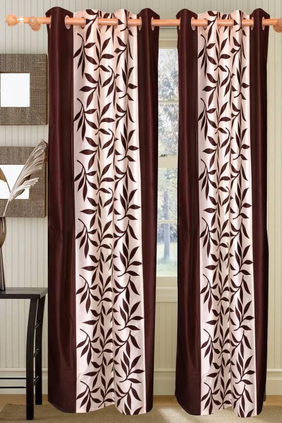 Vrinda Polyester Chocolate Floral Eyelet Door Curtain
