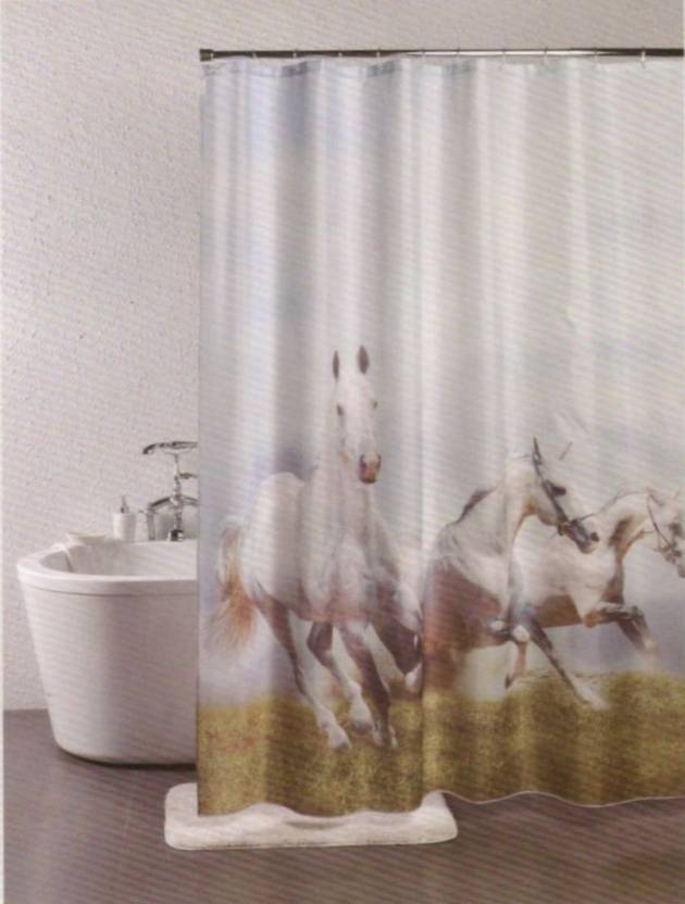 Linenwalas 198 Cm 6 Ft PVC Shower Curtain Single