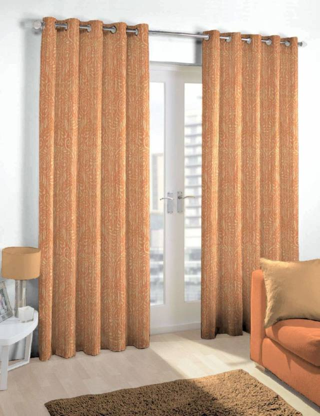 Skipper 275 cm  9 ft  Blends Long Door Curtain Single Curtain Motif, Rust