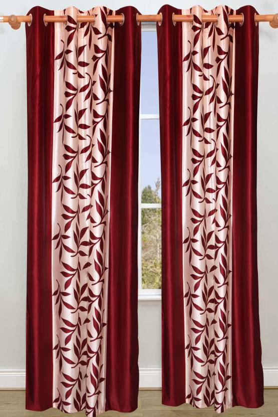 Vrinda Polyester Maroon Printed Eyelet Long Door Curtain