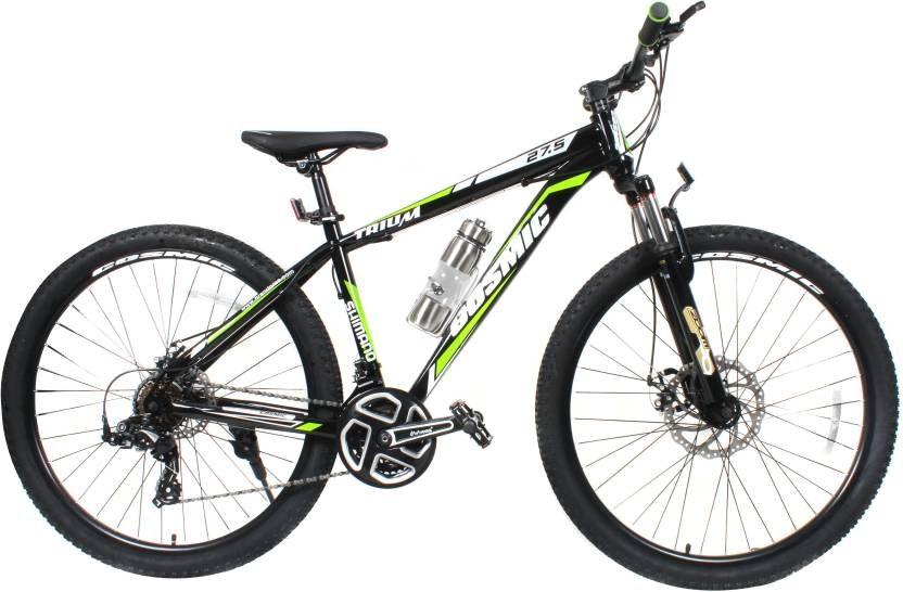 1af89f47cac COSMIC TRIUM 27.5 INCH MTB BICYCLE 21 SPEED BLACK/GREEN-PREMIUM EDITION 28  T Mountain/Hardtail Cycle (21 Gear, Black)