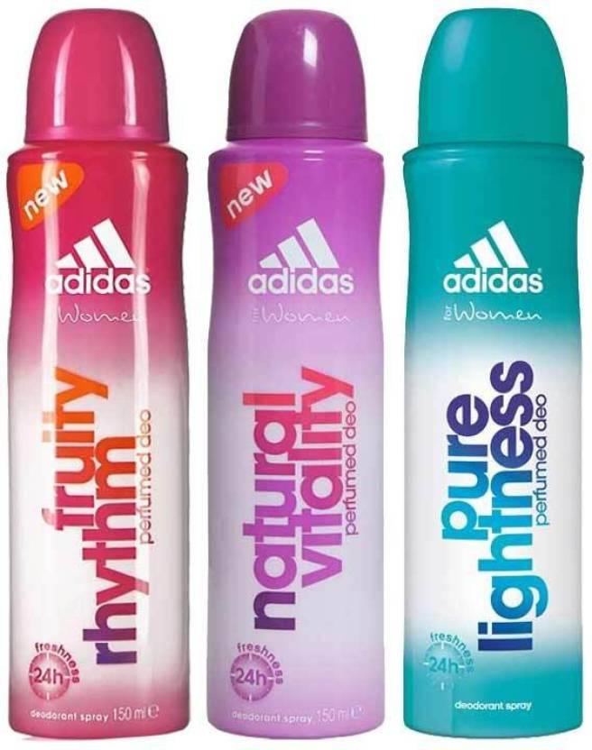 brand new d83d5 58738 ADIDAS Fruity Rhythm Natural Vitality Pure Lightness Body Spray - For Women  (450 ml, Pack of 3)