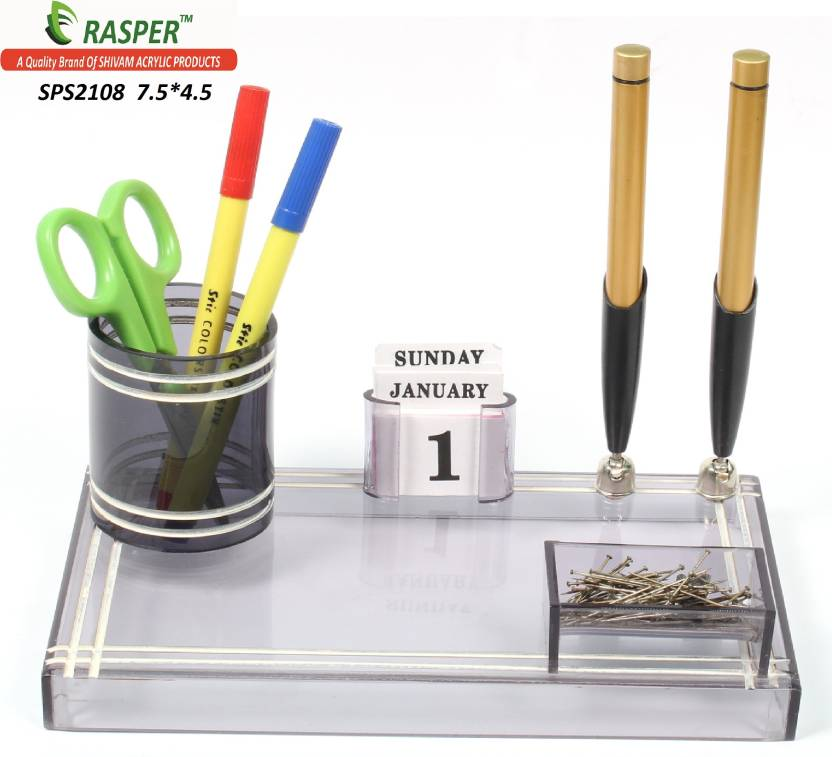 office pen holder. Rasper 3 Compartments Small Acrylic Pen Holder Office Stand C