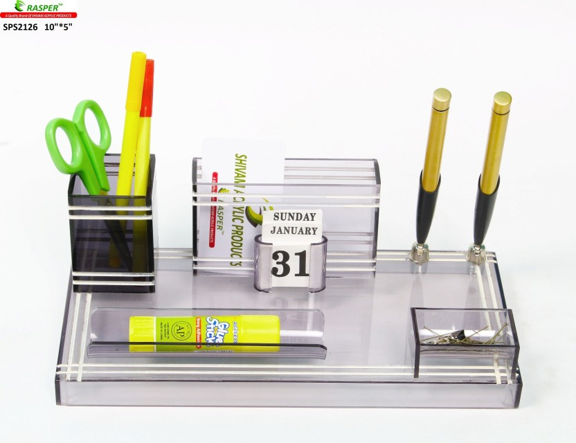 Rasper 3 Compartments Acrylic Small Office Pen Holder