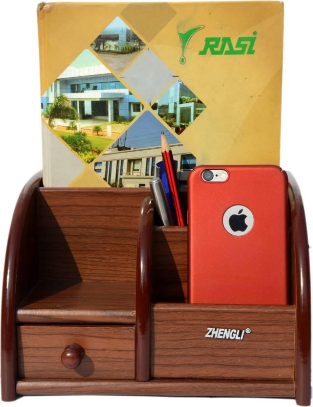 cbe25b06e23 Urban Style Emporium 6 Compartments wood pen stand (Brown)