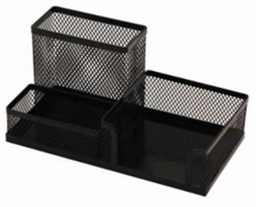 Y E S 3 Compartments Metal Wire Mesh Desk Organizer