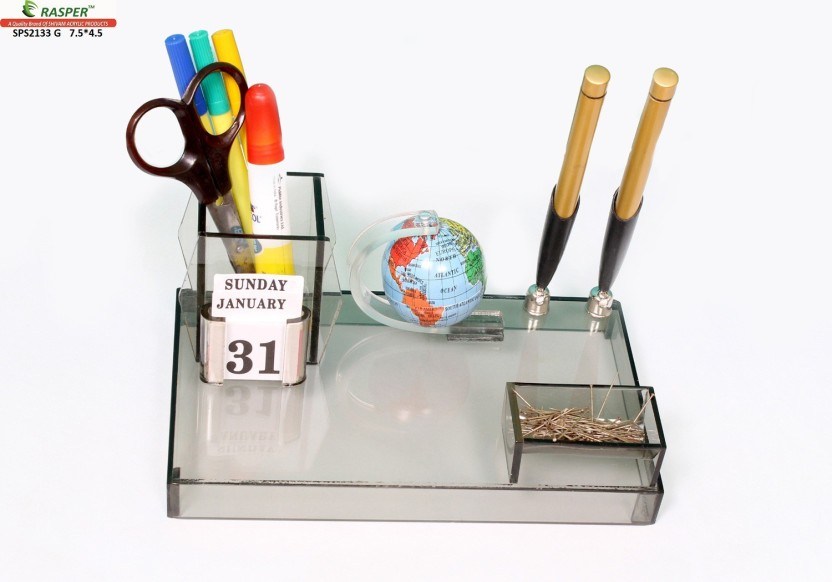 Rasper 2 Compartments Small Acrylic Office Pen Holder Tabletop