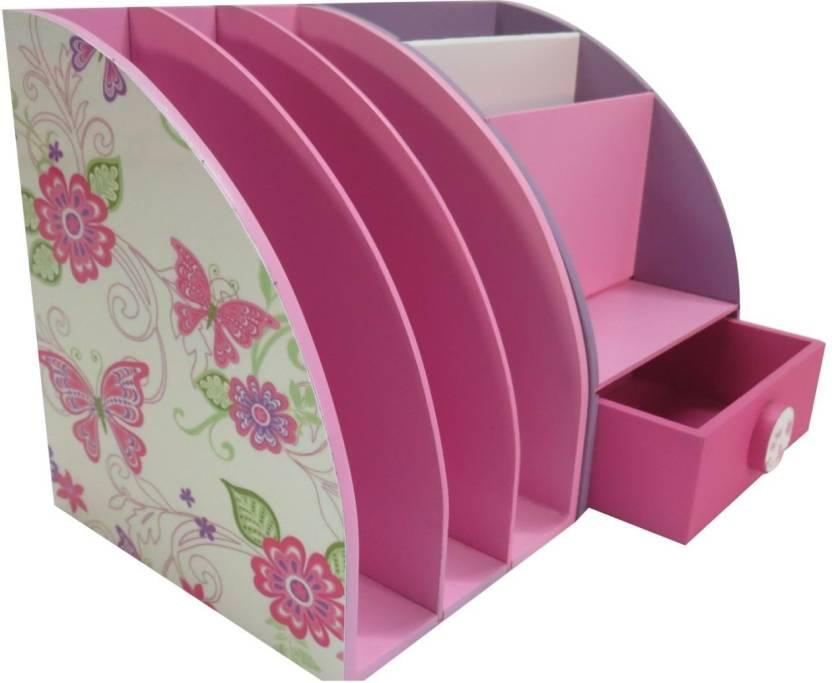 Kidoz Desk Set Bookend 6 Compartments Wood Desktop Accessories