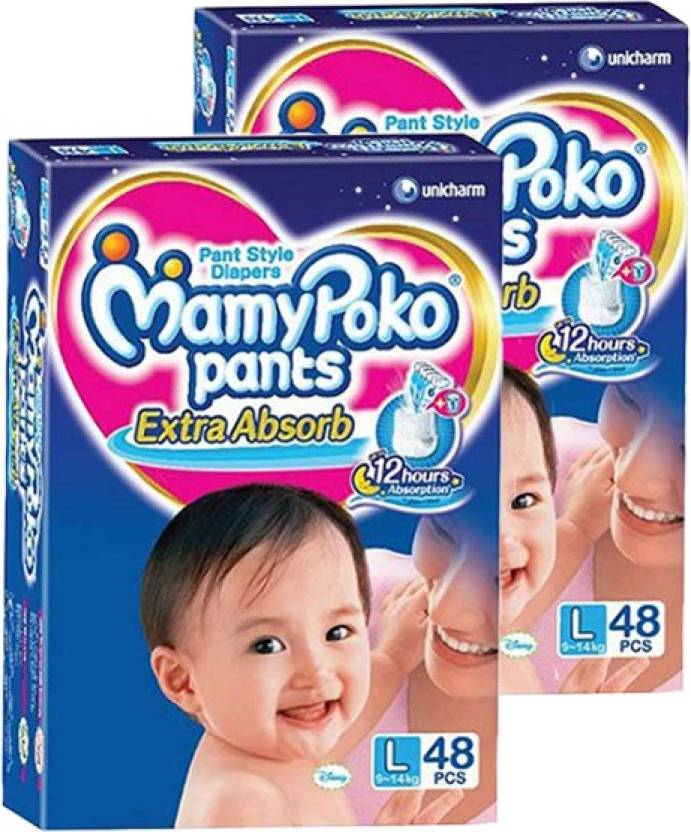MAMY POKO EXTRA ABSORB PANT STYLE DIAPERS ( SET OF 02 PACKS OF 48 PCs) - LARGE-48 (2 Pieces)