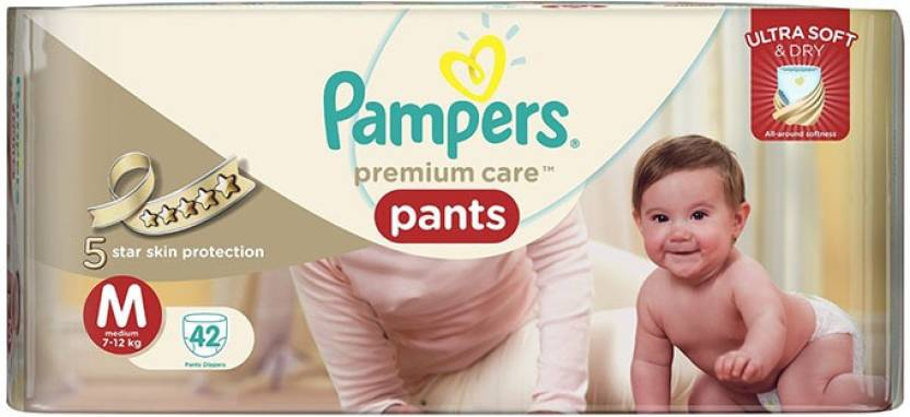 Pampers Premium Care Pants Medium Size - 42pcs (7 - 12 Kgs) - M