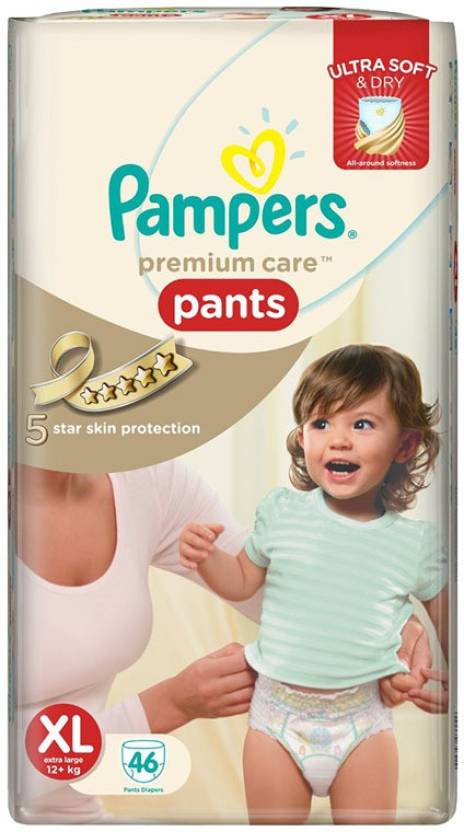 Pampers Premium Care Pants Extra Large (12 Kgs Plus) - New Born (46 Pieces)