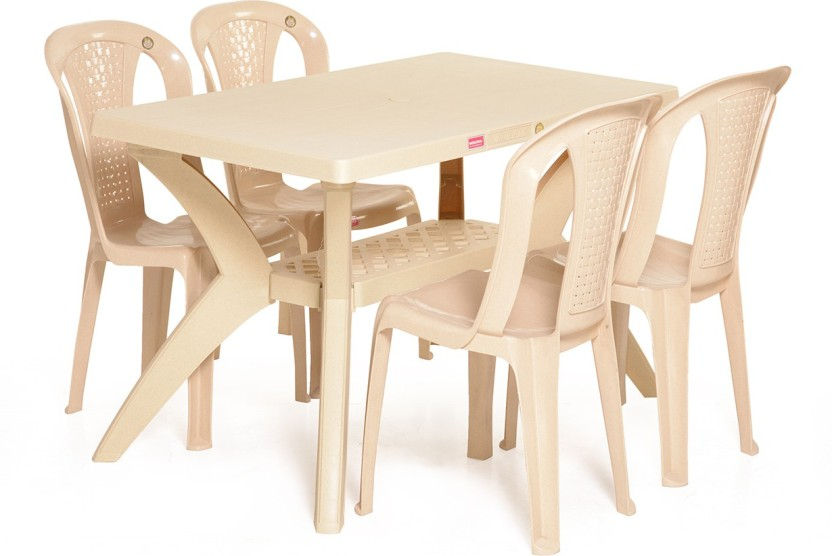 Varmora Dinning Table Set 1+4 Savor Plastic 4 Seater Dining Set