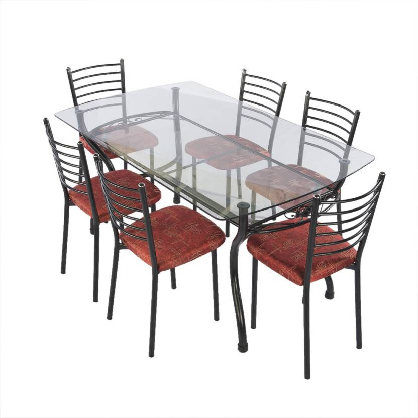 Irony Furniture Glass 6 Seater Dining Set Price In India Buy Irony
