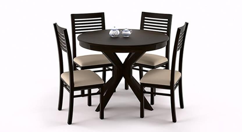 5f219f41df Urban Ladder Liana Round - Zella Solid Wood 4 Seater Dining Set (Finish  Color - Mahogany)
