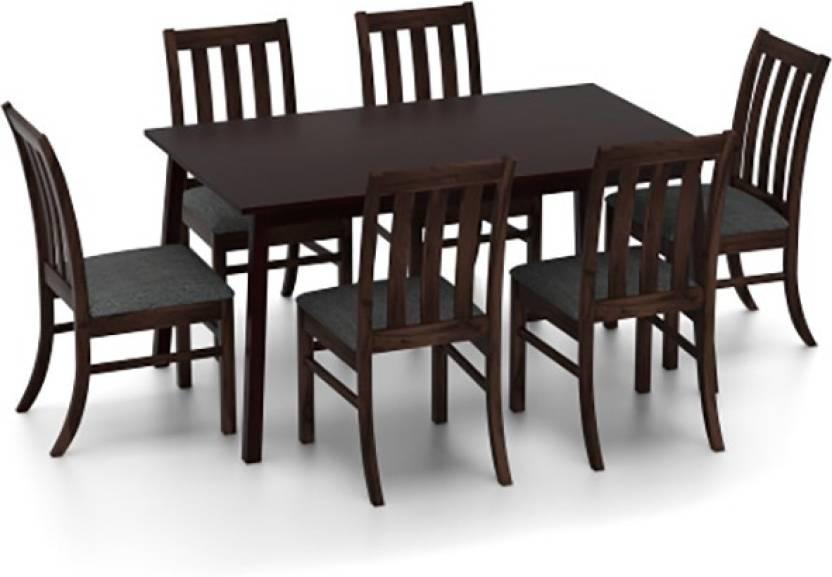 Upto 60% off On Home & Furniture By Flipkart | Urban Ladder Baretta - Deluca Solid Wood Dining Set  (Finish Color - Dark Walnut) @ Rs.15,998