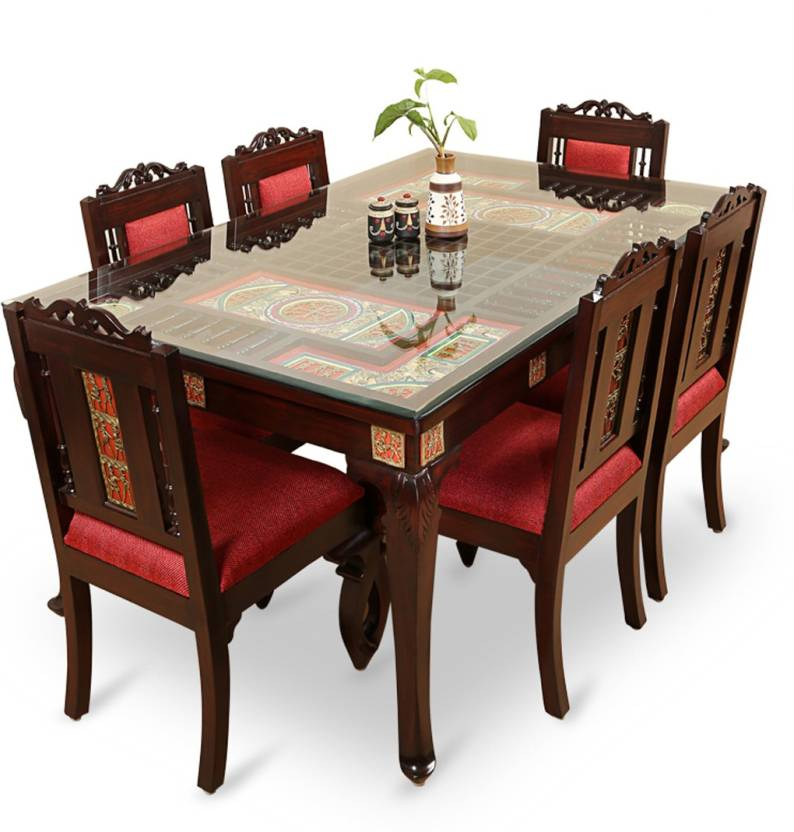 Exclusivelane Teak Wood Solid Wood 6 Seater Dining Set Price In