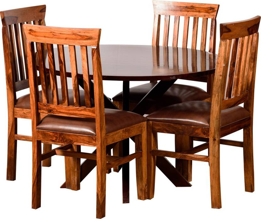dd1356dc550 Induscraft Bali Upholstered Sheesham Solid Wood 4 Seater Dining Set (Finish  Color - Brown)