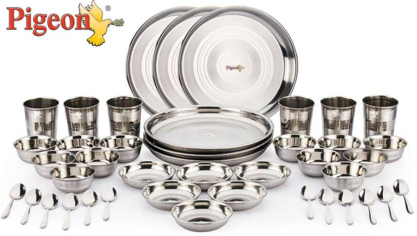 Pigeon lunch set pack of 42 dinner set price in india for Kitchen set on flipkart