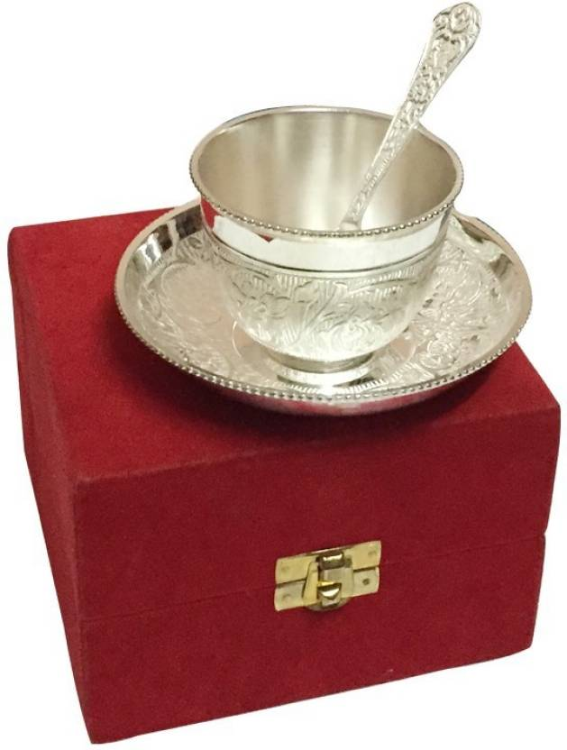 328c20f6d284 Adiidev Royal Silver Plated Tea Cup Set With Red Velvet Box Pack of 3  Dinner Set (Brass)