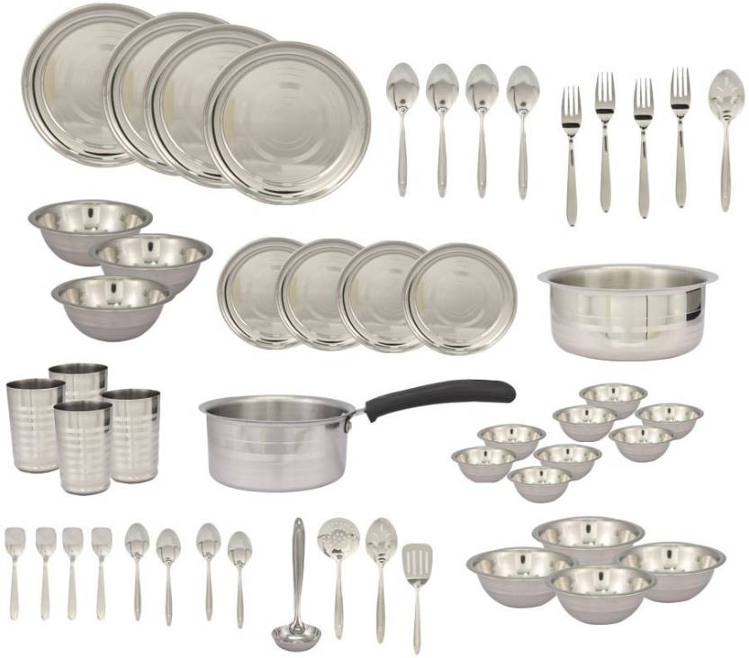 Jagdamba Stainless Steel Complete Kitchen Pack Of 50 Dinner