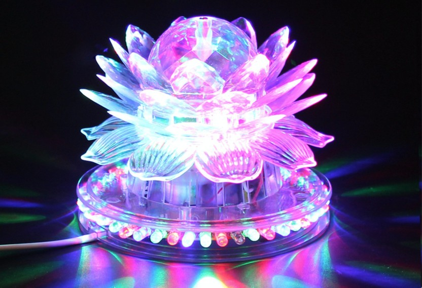 A To Z Traders Lotus Rotating Flashing DJ Laser LED Light Disco Party  Diwali Home Decoration Table Lamp
