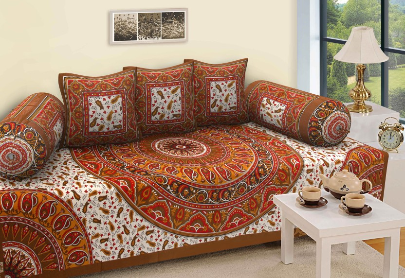 RajasthaniKart Cotton Abstract Diwan Set