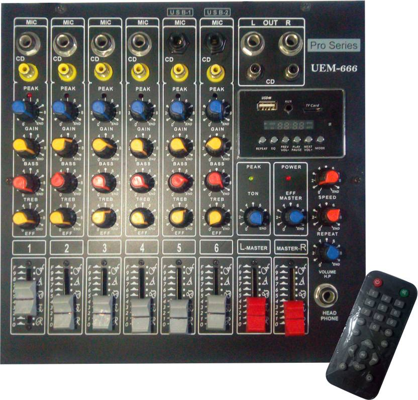VRCT 6 Channel Stereo Mixing Console With Echo Wired DJ Controller