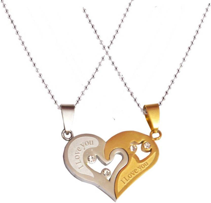 eecd83f3bc Men Style New Love Couple His and Hers Necklace for Lovers I Love You  Engraved Gold, Silver Dog Tag Price in India - Buy Men Style New Love Couple  His and ...