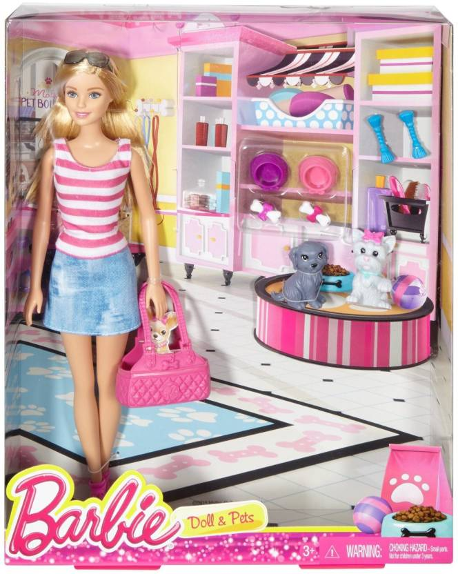 barbie doll. Barbie Dolls And Pets Set Doll