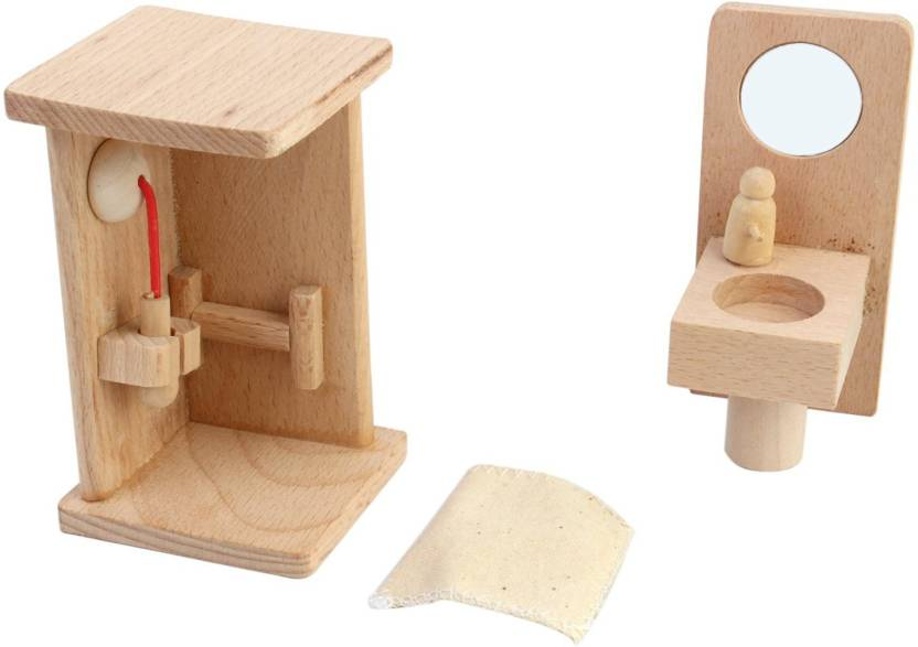 Shrih Solid Wood Miniature Dollhouse Bathroom Furniture Set