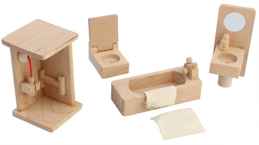 Pigloo Solid Wood Miniature Dollhouse Bathroom Furniture