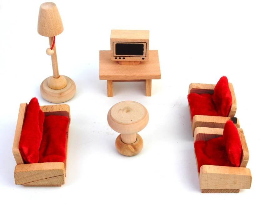 Pigloo Solid Wood Miniature Toy Dollhouse Lounge Furniture Set
