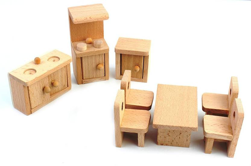 Peachy Shrih Solid Wood Miniature Dollhouse Kitchen Furniture Toy Set Beutiful Home Inspiration Xortanetmahrainfo