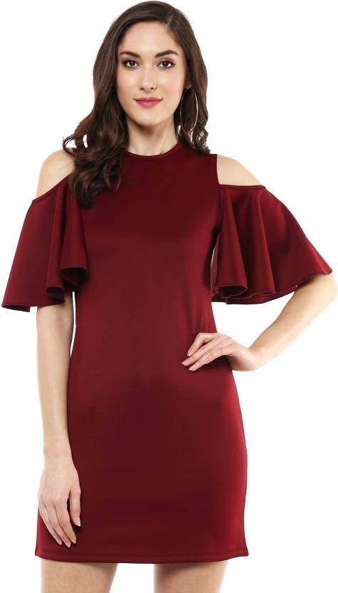 eda5c203ca Sassafras Women's Sheath Maroon Dress - Buy Maroon Sassafras Women's ...