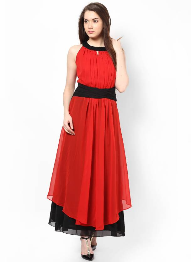 e5b40a529f Athena Women's Maxi Red Dress - Buy Red, Black Athena Women's Maxi Red Dress  Online at Best Prices in India | Flipkart.com