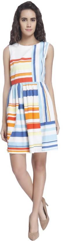 Vero Moda Women's Gathered Multicolor Dress