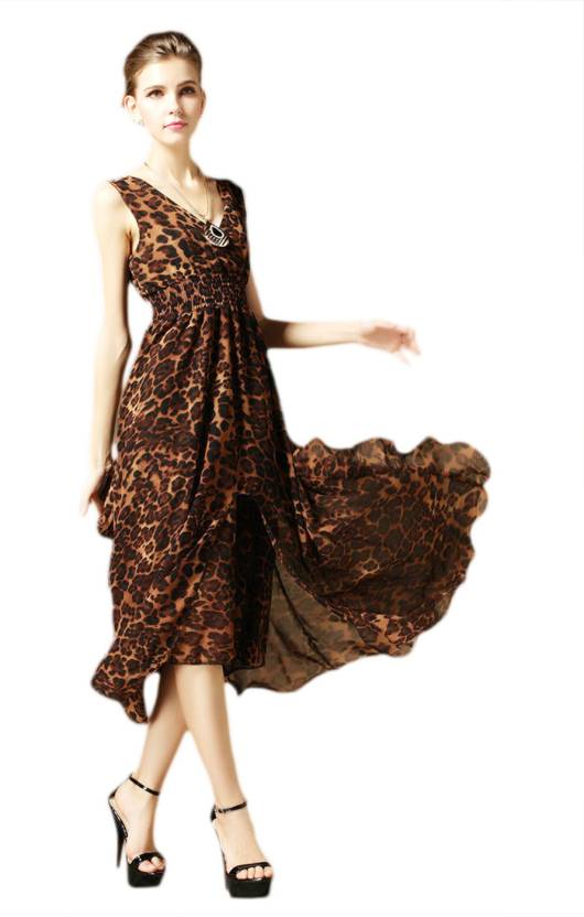 Pepper Closet Women s Maxi Brown Dress - Buy Animal Print Pepper ... 5573a76e5