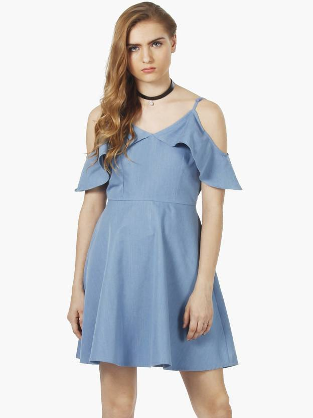 c7a05e77dba01 FabAlley Women's Fit and Flare Blue Dress - Buy Blue FabAlley Women's Fit  and Flare Blue Dress Online at Best Prices in India | Flipkart.com