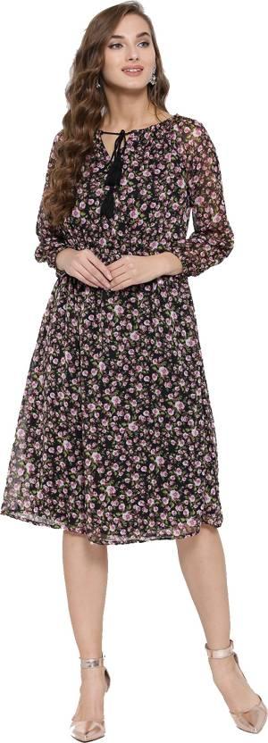 a9917d64c6a Sera Women s Fit and Flare Black Dress - Buy Black Sera Women s Fit ...