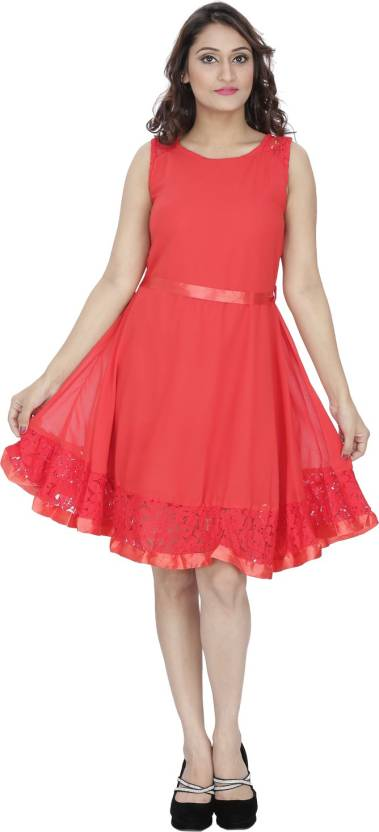 Franclo Women's Gathered Red Dress