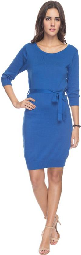 Park Avenue Women's Gathered Dark Blue Dress