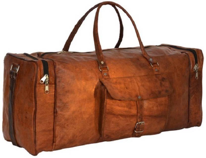 Pranjals House 20 inch 51 cm (Expandable) genuine leather duffle bag Travel Duffel  Bag (Brown) 2df42b1d14