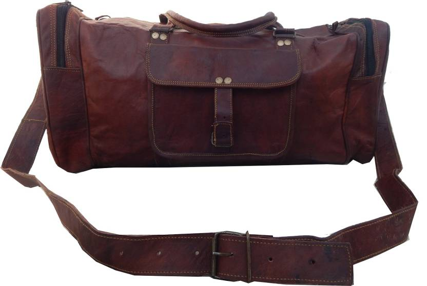 53b2cf53eb08 Shiny Collection 20 inch 51 cm 100% Goat Leather Travel Duffel Bag (Brown)