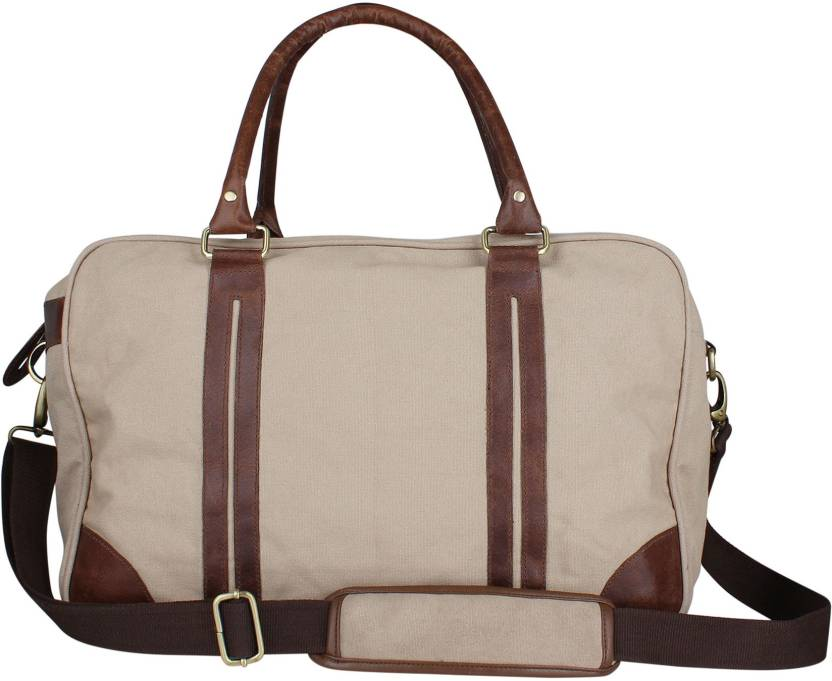 ace010db46a2 Zobello 17 inch 43 cm Genuine Leather Dyed Canvas Duffle Bag Travel Duffel  Bag (Brown)
